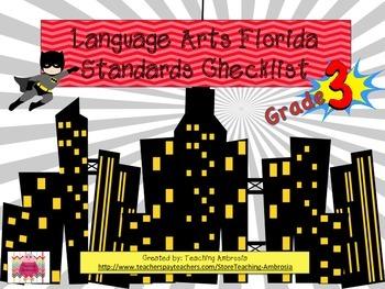 Superhero Themed Third Grade Language Arts Florida Standards Checklist