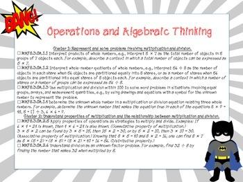 Superhero Themed Third Grade Math Florida Standards Checklist
