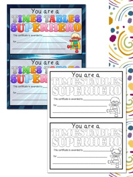 Superhero Themed Times Tables Student Workbook or Booklet Activities