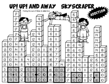 Skyscraper Dice Addition Math Game