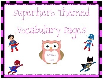 Superhero Themed Vocabulary Practice Pages