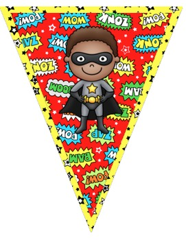 Superhero Themed Welcome Pennant Banner
