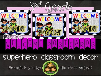 Superhero Themed Welcome Postcards-3rd Grade