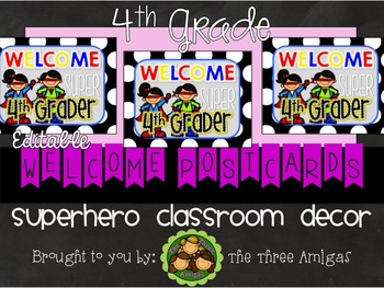 Superhero Themed Welcome Postcards-4th Grade
