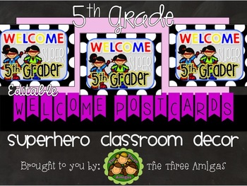 Superhero Themed Welcome Postcards-5th Grade