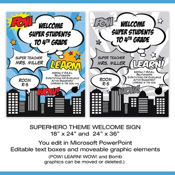 Superhero Themed Welcome Poster - Editable in Powerpoint, Color & BW Two Sizes