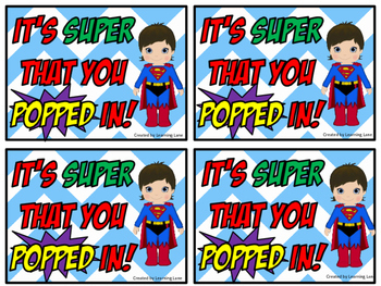 Superhero Themed Welcome Treat Tags