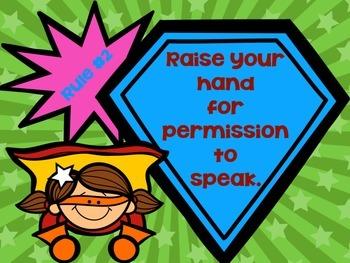 Superhero-Themed Whole Brain Teaching 5 Classroom Rules