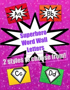 Superhero-Themed Word Wall Letters