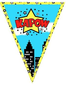 Superhero Themed Word Wall Pennant Banner