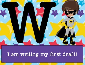 Superhero Themed Writing Process Tracker