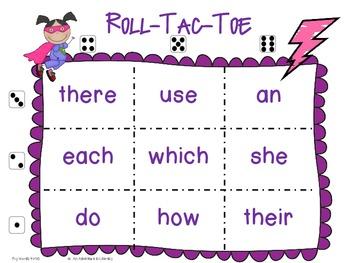 Superhero Tic Tac Toe Games Fry Words 1-100