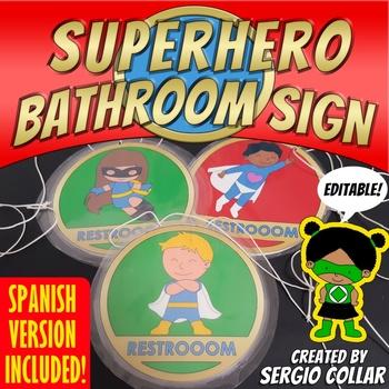 Superhero Bathroom Sign - Bilingual - Editable