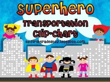 Superhero Transportation Chart (Editable)