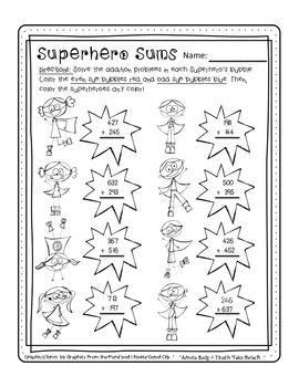 Superhero Triple Digit Addition/Odd and Even Numbers Worksheet Freebie