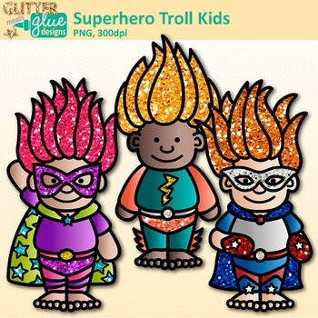 Superhero Troll Kids Clip Art | Crime Fighters, Gnome Graphics for Teachers