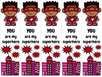 Superhero Valentine 6 bookmark