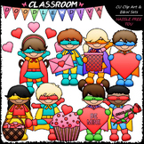Superhero Valentine Kids - Clip Art & B&W Set