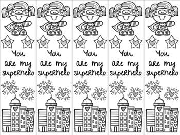 Superhero Valentine bookmark