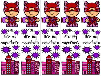 Superhero Valentine 3 bookmark