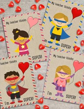 Superhero Valentine S Card From Teacher To Student Freebie Tpt