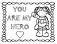 Superhero Valentine's Coloring Sheets PREVIEW
