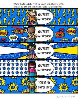 Superhero Water Bottle Labels for Teachers, Staff, or Students! SET 2