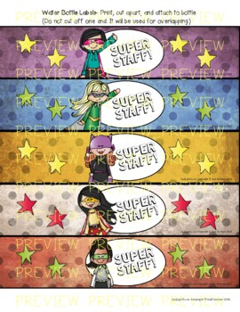 Superhero Water Bottle Labels for Teachers, Staff, or Students! SET 3