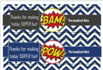 Superhero Water Labels