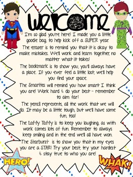 Superhero Welcome Back Letter