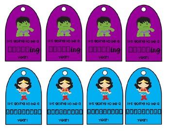 Superhero Welcome Gift Tags