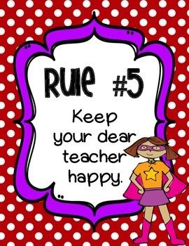 Superhero Whole Brain Teaching Classroom Rules