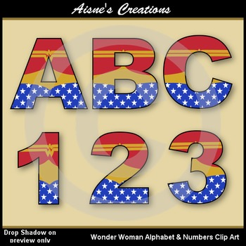 Superhero Wonderwoman Alphabet & Numbers