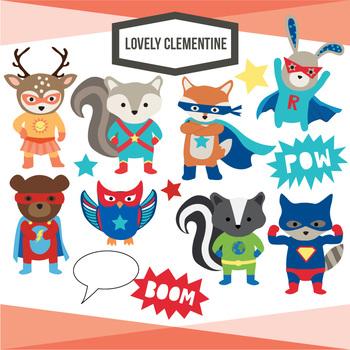 Superhero Woodland animals clip art  - Lovely Clementine