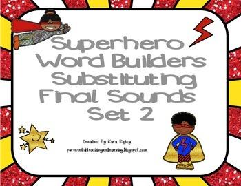 Superhero Word Builders Substituting Final Sounds Set 2