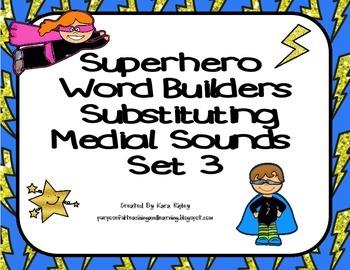 Superhero Word Builders Substituting Medial Sounds Set 3