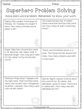 Superhero Addition and Subtraction Word Problems
