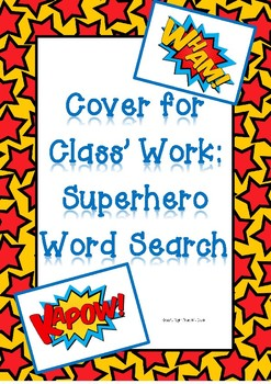 Superhero Word Search - Cover for Class' Work