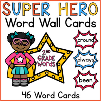 Word Wall Cards 2nd Grade Sight Words Superhero Classroom Theme Decor