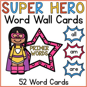 Word Wall Cards Primer Sight Words Superhero Classroom Theme Decor