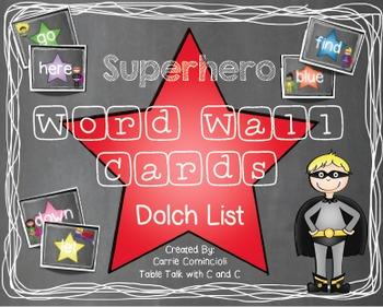 Superhero Chalkboard Theme Word Wall Packet {Editable}