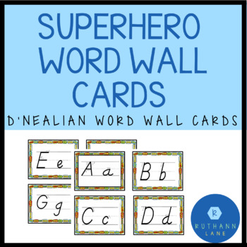 Superhero Word Wall Letters (D'Nealian)