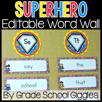 Superhero Word Wall: With Editable Word Cards