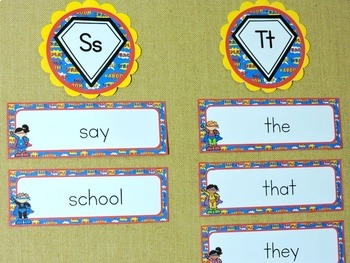 Superhero Theme Classroom Decor - Editable Superhero Theme Word Wall