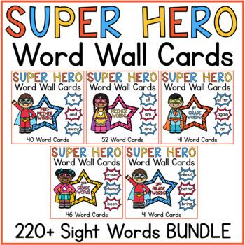 Word Wall Word Cards BUNDLE Superhero Classroom Theme Decor