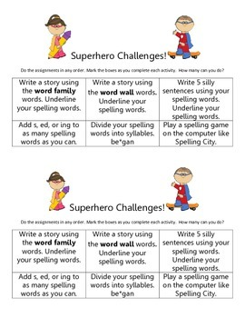 Superhero Word Work Challenges