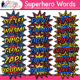 Superhero Words Clip Art {Teach Onomatopoeia Using Speech Bubbles for ELA}