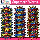 Superhero Words Clip Art | Teach Onomatopoeia Using Speech Bubbles for ELA