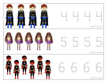 Superhero Write and Wipe Numbers