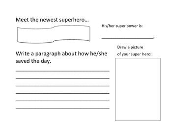 Superhero Writing Activity - Quick Printable
